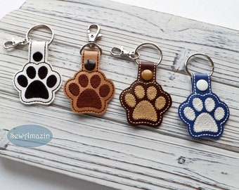 Dog Paw Print Key Fob, Purse Charm