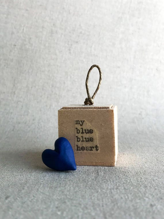 my blue blue heart - porcelain sculpture - heart in a box