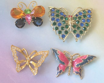 Butterfly Pins - Joan Rivers, Monet, Rhinestones and Enamel