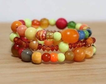 Bright Orange, Bracelet Set, Beaded Bracelet Set, Stackable Bracelet, Hippie Jewelry, Festival Bracelets, Music Festival Jewelry