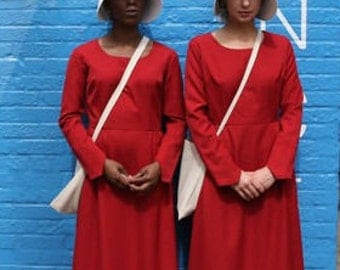 Handmaid's Tale Costume - Dress, bonnet, and bag