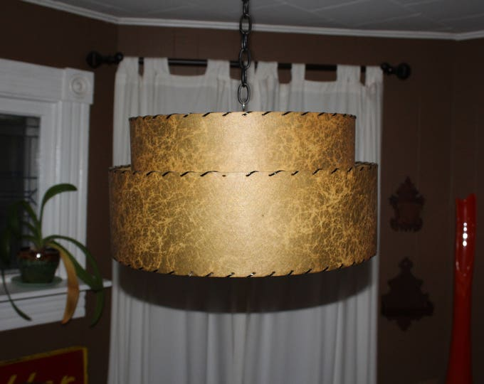 "Mid Century Lamp Shade 2 Tier 18"" Brown Fiberglass Vintage 1950s"