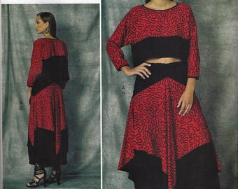 ZANDRA RHODES Vogue American Designer Original Pattern V1472 Misses Size Sm-Lg ~Misses ' Crop Top and Shaped Skirt   New