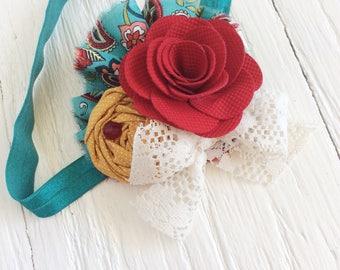 Teal Burgundy mustard yellow baby girl headband toddler headband flower headband matilda jane m2m flower infant newborn headband