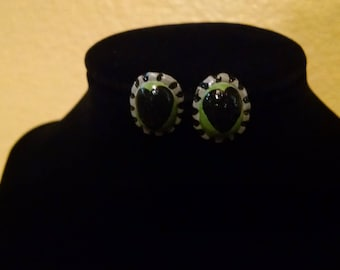 Hand-Painted Clay Green and Black Heart Earrings