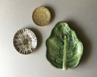 Vintage Trio of Trinket Dishes, Catch All Assortment, Mid Century Dishes, MCM, Bohemian Home, Boho Decor, Set of 3, Ceramic Pottery, Leaf