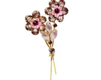 Vintage Kramer Flower Bouquet Spray Brooch // Smokey Pastel Pink & Lilac Purple Rhinestones, Enamel, Molded Glass, Gold-tone Metal, Unsigned