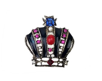 Vintage Unsigned Weiss Jeweled Royal Crown Brooch with Blue, Pink, Red & Clear Rhinestones, Faux Pearls, Red Cabochon, and Blue Black Enamel