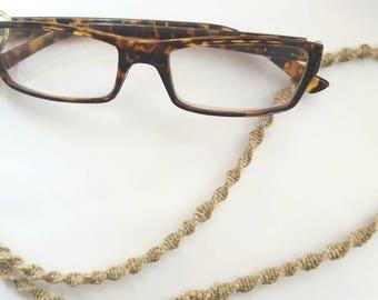 Hemp Glasses Holder - Spiral Knotted Hemp - 100% natural hemp - Eyeglass Accessories