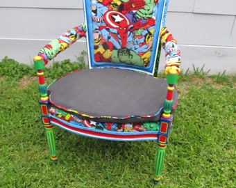 Marvel Comics Superhero custom chair man cave nursery antique original wood armchair