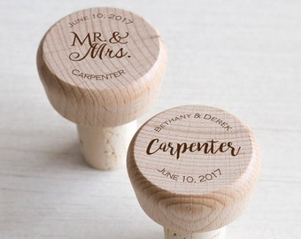 60 Personalized Wine Stoppers: Personalized Wine Corks, Wine Wedding Favors, Shower Favors, Personalized Bottle Stoppers, Wood Wine Corks