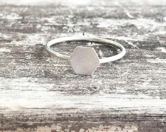 Sterling Silver Hexagon Ring / Simple Honey Comb Ring / Promise Ring / Thin Minimalist Jewelry / Dainty Ring / Bridesmaids Gift
