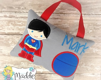 Boys Tooth Fairy Pillow, Keepsake Tooth Pillow, Superhero Tooth Fairy Pillow, Superhero Pillow, Personalized Pillow, Embroidered