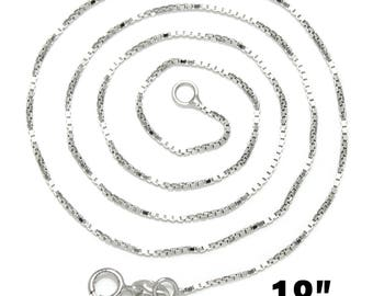"12 Sterling Silver Necklaces - WHOLESALE - Box Chain with Clasps - Stamped .925 - 18""  - Ships IMMEDIATELY  from California - CH355b"