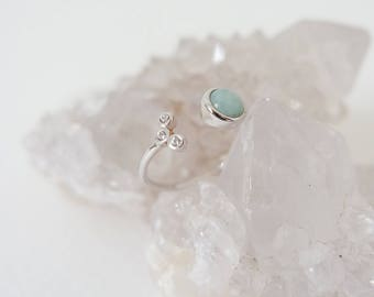 Alix - Amazonite Stacking Ring in Silver, Adjustable Ring, Gifts for her