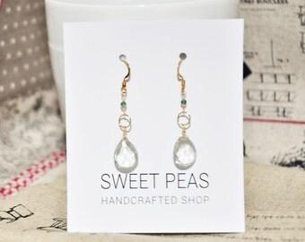 Green Amethyst-14K/20 Gold-Filled Earrings, Dangle Earrings, Gemstone Gold Earrings