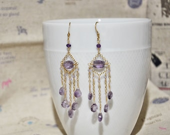 Amethyst Chandelier 14K/20 Gold Filled Earrings, Gemstone Gold Earrings