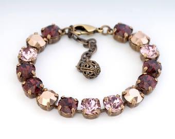 Burgundy Rhinestone Bracelet, Pink Rhinestone Jewelry, Pink Swarovski Crystal Bracelet Adjustable, Crystal Tennis Bracelet Nickel Free, Dena