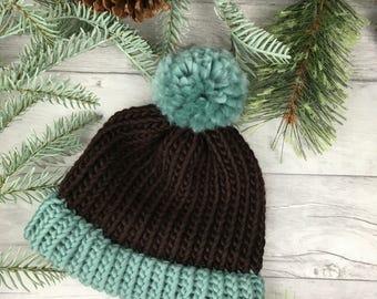 Duck egg knitted hat, brown beanie hat, knit accessories, bobble hat for woman, wool hat, woollen hat, knitwear, gifts for women Etsy UK