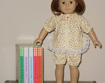 """Handmade Doll Clothes fits/for 18 inch American Girl Doll ~ """"Dizzy Dots"""" Cream Color Dots Print 2-Piece Shorty Pajamas Set"""