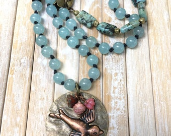 Bird Pendant Necklace ,Long Jade and Turquoise Necklace,Asymmetrical Bird Necklace, Boho Necklace Jewelry