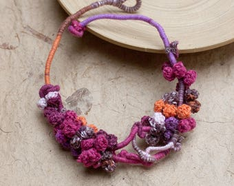 Unique fiber necklace, crochet statement jewelry, magenta purple orange brown