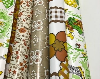 Vintage Mix and Match Collection 1960s/70s/80s GROOVY Con-Tact Paper Shelf Drawer Liner Adhesive Wallpaper contact Paper Brown Yellow Retro