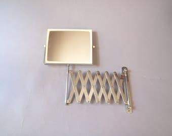 Vintage rectangular mid century retro bathroom accordion shaving or make up extension magnifying dual double sided mirror