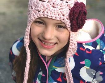 girls winter hat, baby girl hat, Baby hat, kids hat, girls hat, pink and burgundy hat, little girls hat, blush hat, rose pink hat