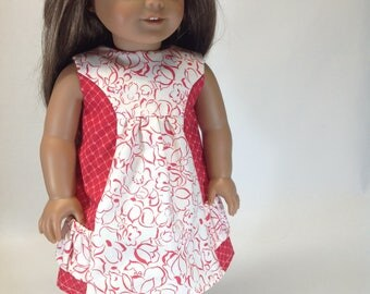 Pocket for My Posies, red and white dress, 18 inch doll dress, doll clothing, pockets, sleeveless dress