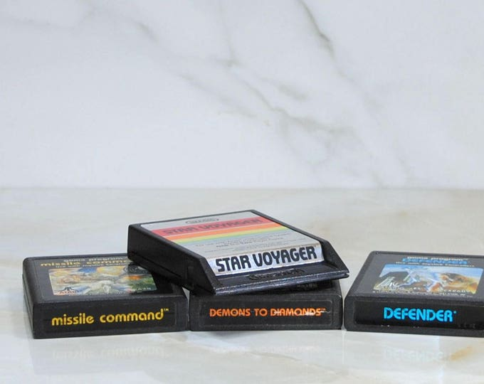 Vintage Atari Games, Combo Pack, Defender, Missle Command, Demons To Diamonds, Star Voyager, 4 Games, 1980s, Vintage Games, Vintage Atari