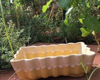 Vintage pastel yellow PLANTER succulents plant pot rectangular mid century mod home decor  planters and pots