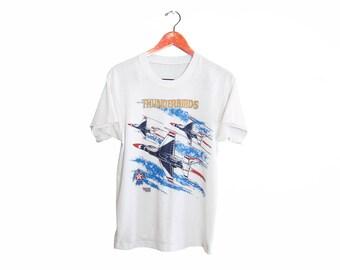 vintage t shirt / Thunderbirds shirt / US Air Force / 1980s thin white USAF Thunderbirds F16 t shirt Medium