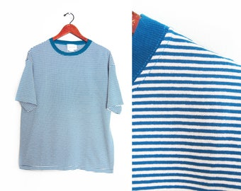 vintage t shirt / striped t shirt / 90s striped shirt / 1990s deadstock blue striped baggy t shirt Large