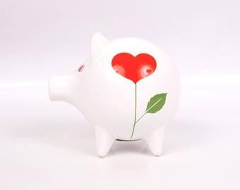 Vintage Waechtersbach German Piggy Bank Red Heart Design Porcelain Pig Figurine Farmhouse Pig Coin Bank Madrid Spain