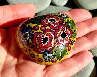 golden boho floral / painted rocks/painted stones/ paperweights/ boho art / boho decor/ hippie art/ items for altars/ bohemian art / stones