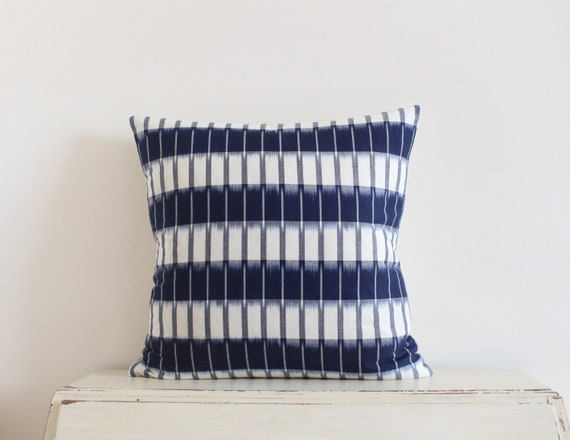 "Handwoven striped blue and cream ikat pillow / cushion cover 20"" x 20"""