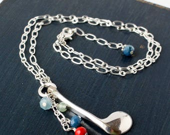 Flute Key Necklace with Multi-Color Bead Cascade
