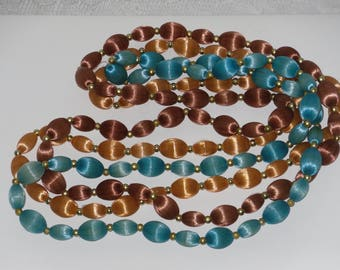 Satin Covered Bead Strand Necklaces Set of 3 Continuous Turquoise Blue Orange Brown with Gold Tone Spacers Vintage