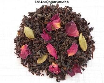 Tea, Rose and Cardamom, Organic, PERSIAN ROSE Tea Blend, Whole Leaf Black Tea, Exotic, Floral Tea, Hand Blended, Caffeinated, Earth Friendly