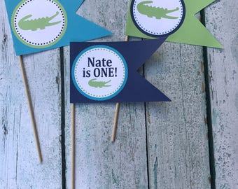 PREPPY ALLIGATOR Happy Birthday or Baby Shower Centerpiece Flags {Set of 3} Lime Green Navy Blue - Party Packs Available