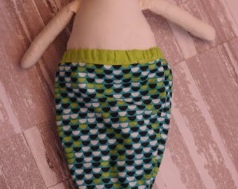 Boy Doll with Merman Tail in Green Print