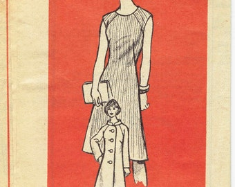 70s Raglan Sleeve Coat and Dress Pattern Marian Martin 9458. Half Size Pattern for Petite Figures. Size 16.5 Bust 39 inches.