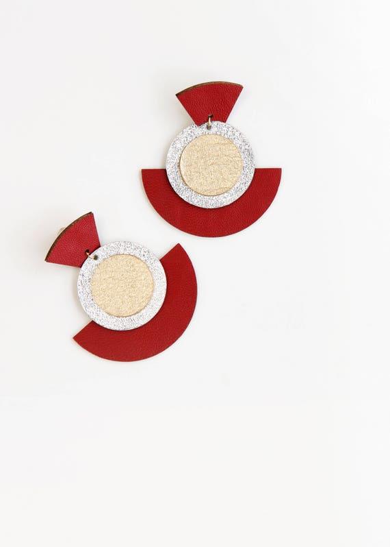 Large geometric red fan earrings- large red earrings- modern geometric large statement earrings- bold earrings- red gold silver fan earrings