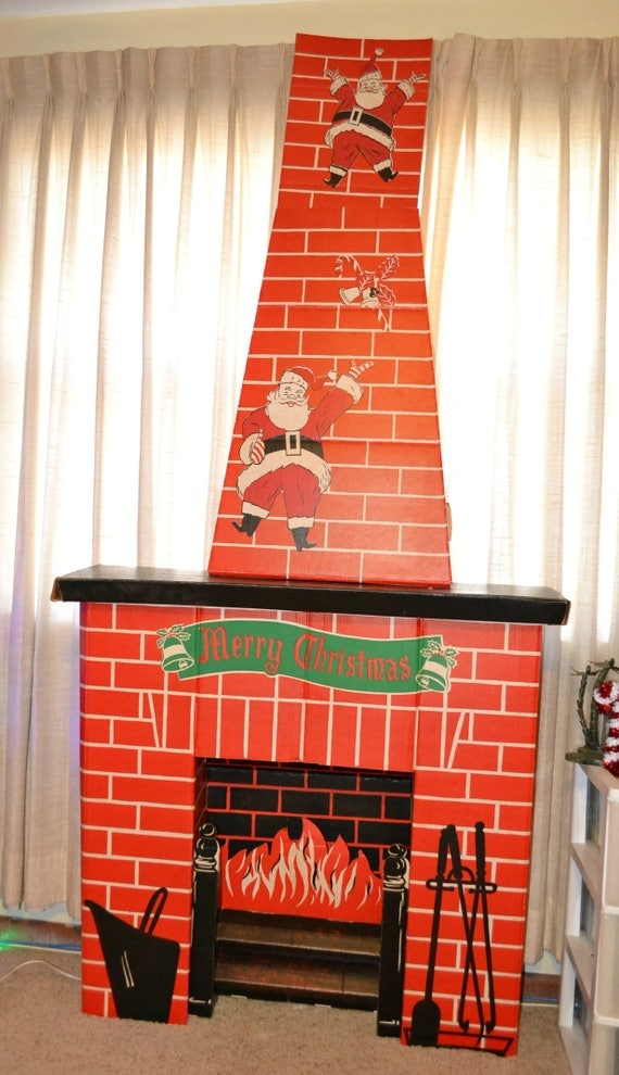 vintage ToyMaster electric cardboard fireplace chimney card holder adjustable Christmas holiday decor Santa original box complete used prop - very good condition - complete - was missing a tab but we made a replacement (photo #9) - some slight discolorati