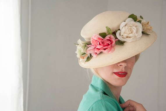 Vintage white floral 1940s sun hat, panama brimmed straw beach, 1950s, green pink white yellow flowers roses