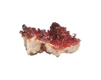 Vanadinite Red Orange Crystal cluster on white barite rock matrix Mineral Specimen Geo Gem mined in Sahara Morocco, Wear it or Display it