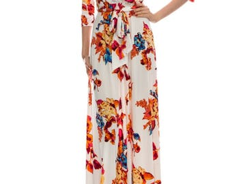 STELLA Wrap Style Dress with Orange Blossom Print