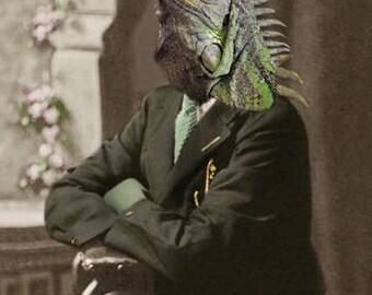 Spike, Iguana Print, Reptile Artwork, Anthropomorphic, Altered Photo, Whimsical Art, Fantasy Art, Photo Collage Art, Quirky Animal Artwork