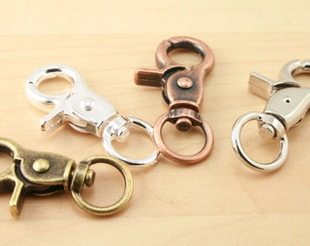 "The ""Masculine"" Key Ring Clips - 10 - 4 Color Options - Lg, Swivel, Swivel Charm Clips, Heavy, Sturdy - Split Ring Key Rings Sold Separately"